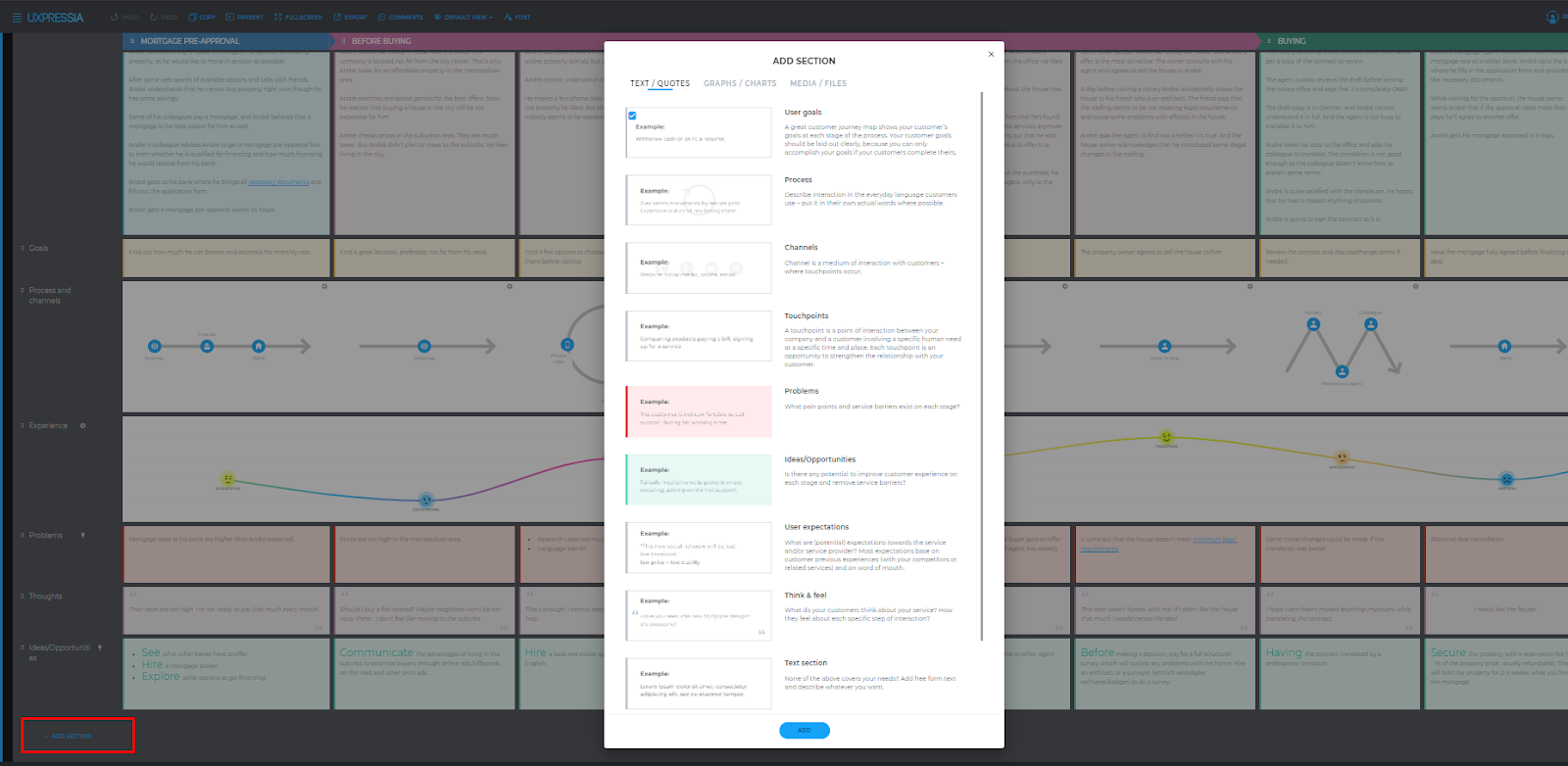customer journey sections